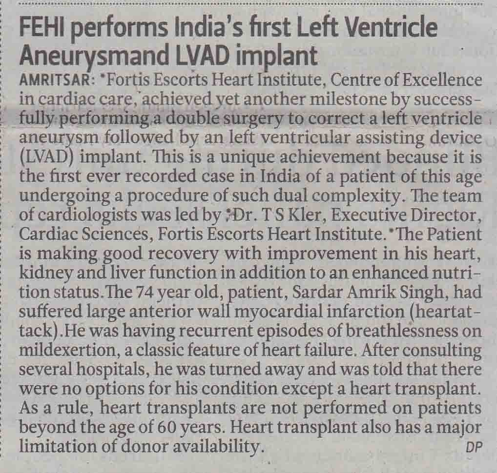 FEHI performs India's first Left Ventricle Aneurysmand LVAD implant