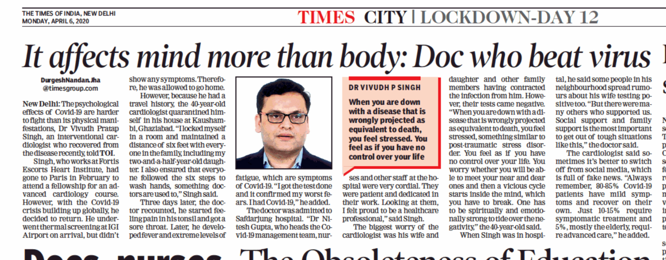 It affects mind more than body: Doc who beat virus