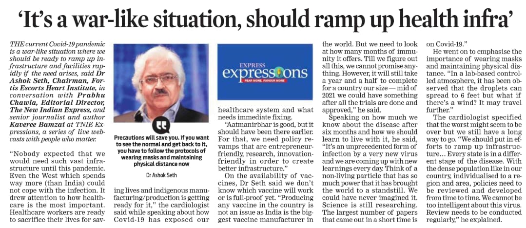Dr. 'It's a war-like situation, should ramp up health infra'