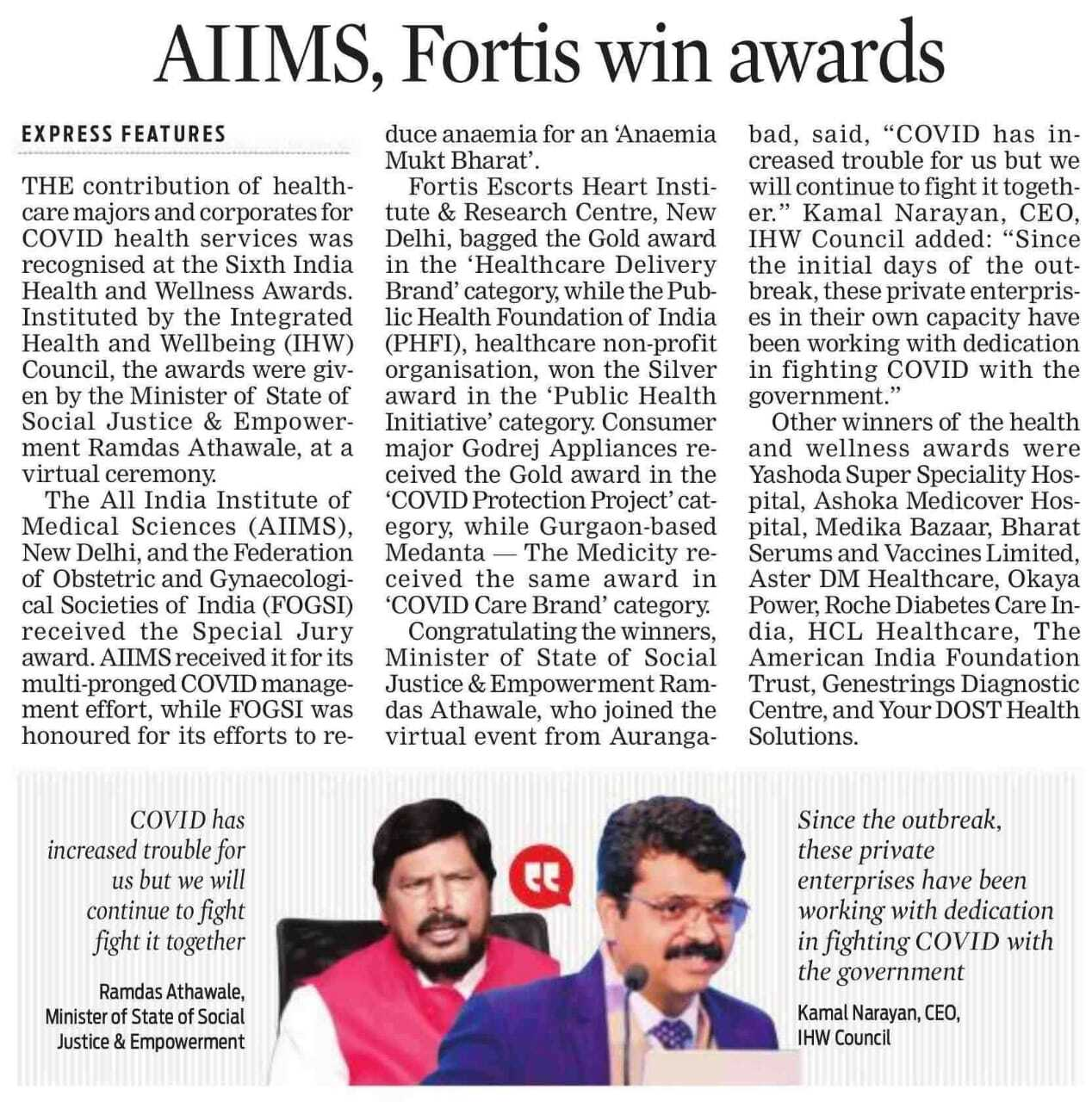 Dr. AIIMS, Fortis win awards